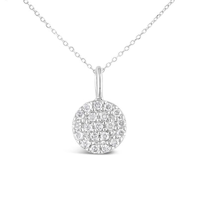 Round Micro Pave Diamond Necklace | 14kt Gold