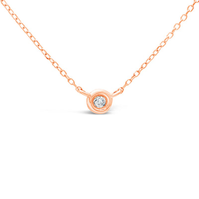 Diamond Bezel Necklace | 14kt Gold