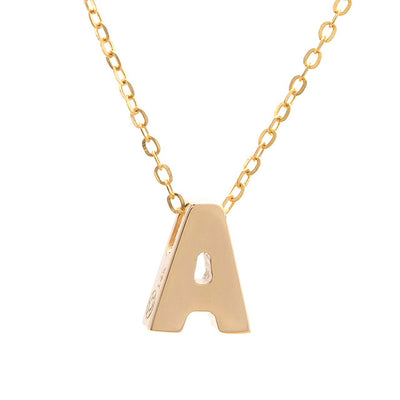 Initial Block Necklace | 14kt Gold