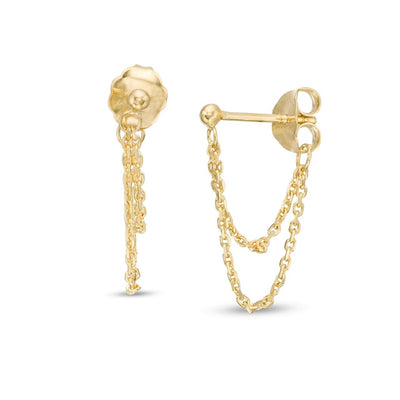 Chain Front Back Earrings | 14kt Gold