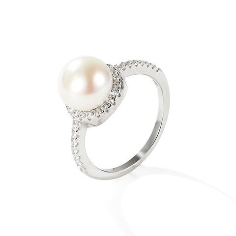 Halo Pearl CZ Ring