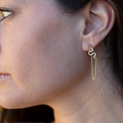 Nagini Pave Earrings with Chain