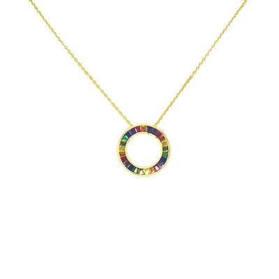 Rainbow Donut Necklace