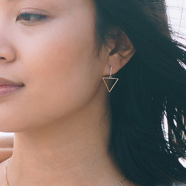 Diamond Bar Triangle Earrings | 14kt Gold