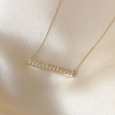 Diamond Bar Necklace | 14kt Gold