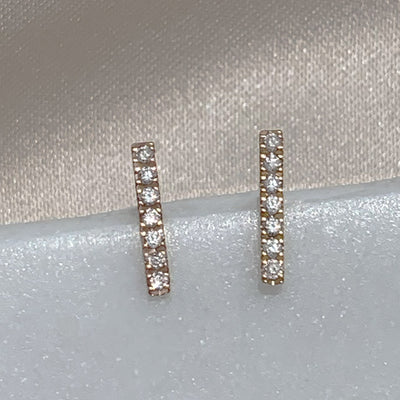 Diamond Bar Earrings | 14kt Gold