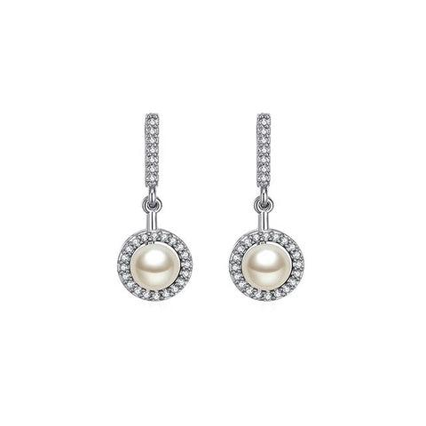 Halo Pearl CZ Earrings