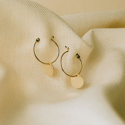 Hoop Disc Earrings | 14kt Gold