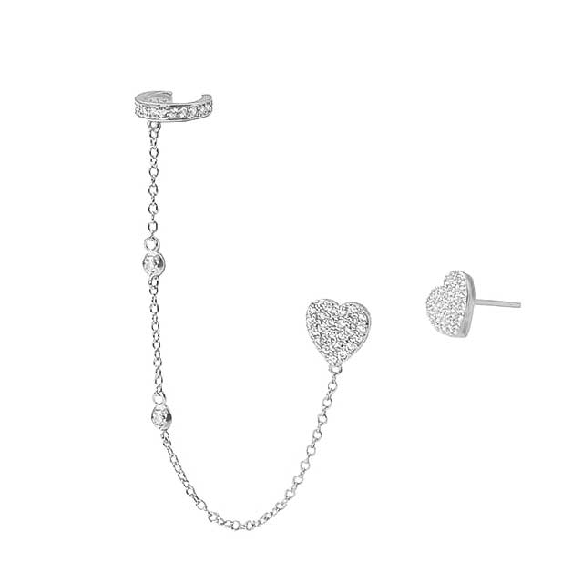 Heartbreaker Diamond CZ Earring Cuff