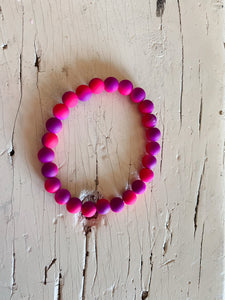 Tie-Dye Beaded Bracelet-Adult-Purple