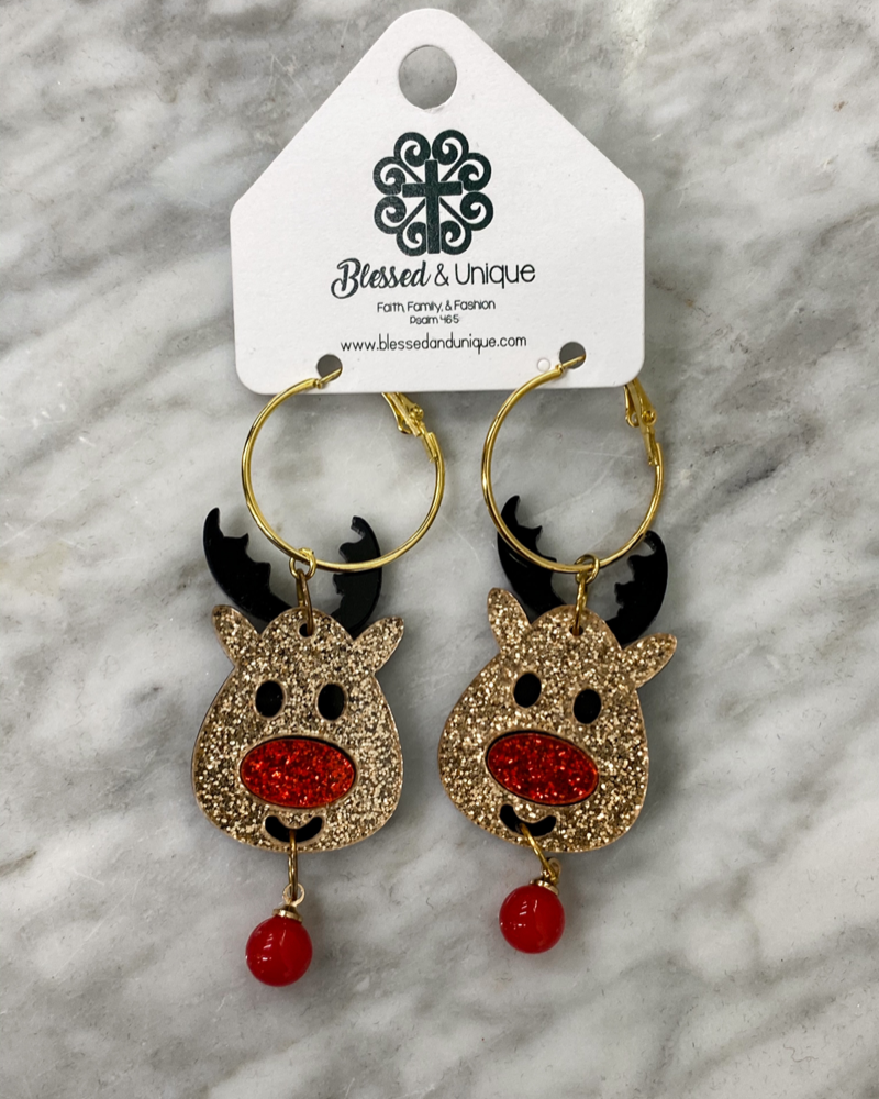 Rudolph Acrylic Earrings