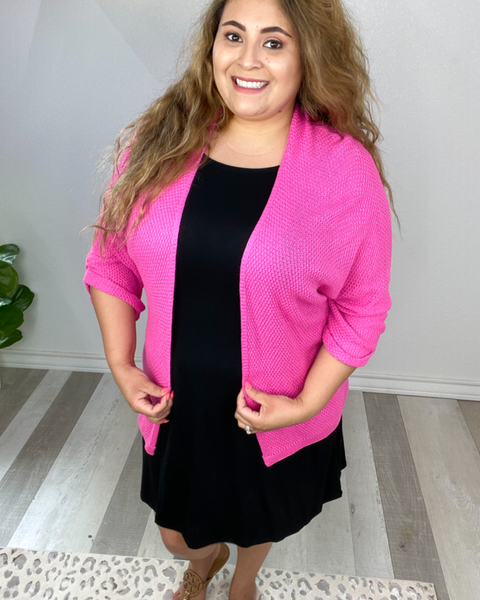 Blessed and Unique Sweater Cardigan- Hot Pink