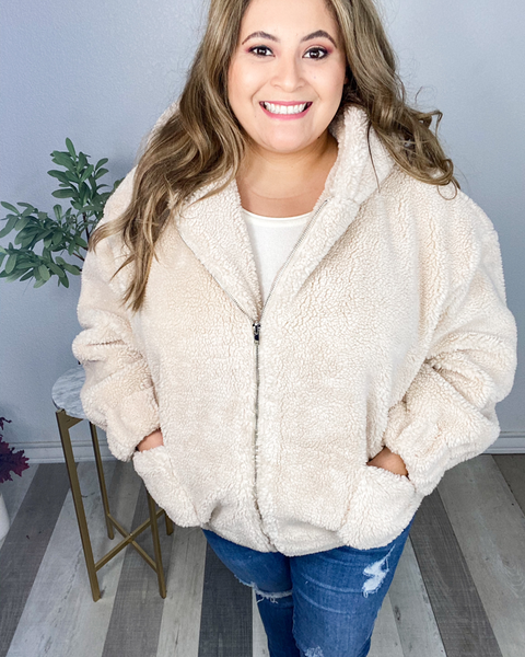 Fuzzy Feels Jacket-Taupe