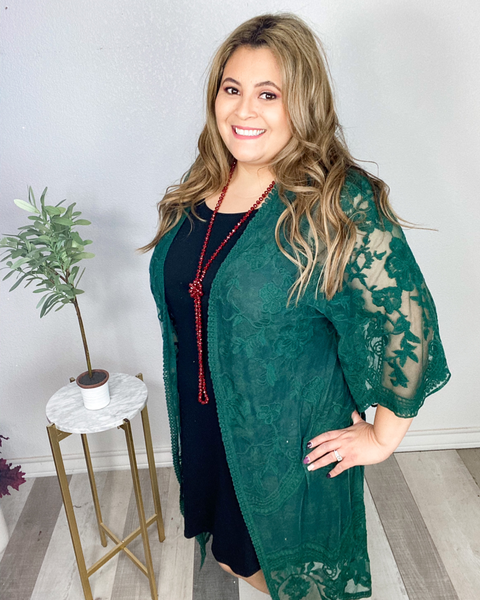 She's In Charge Kimono- Sea Green