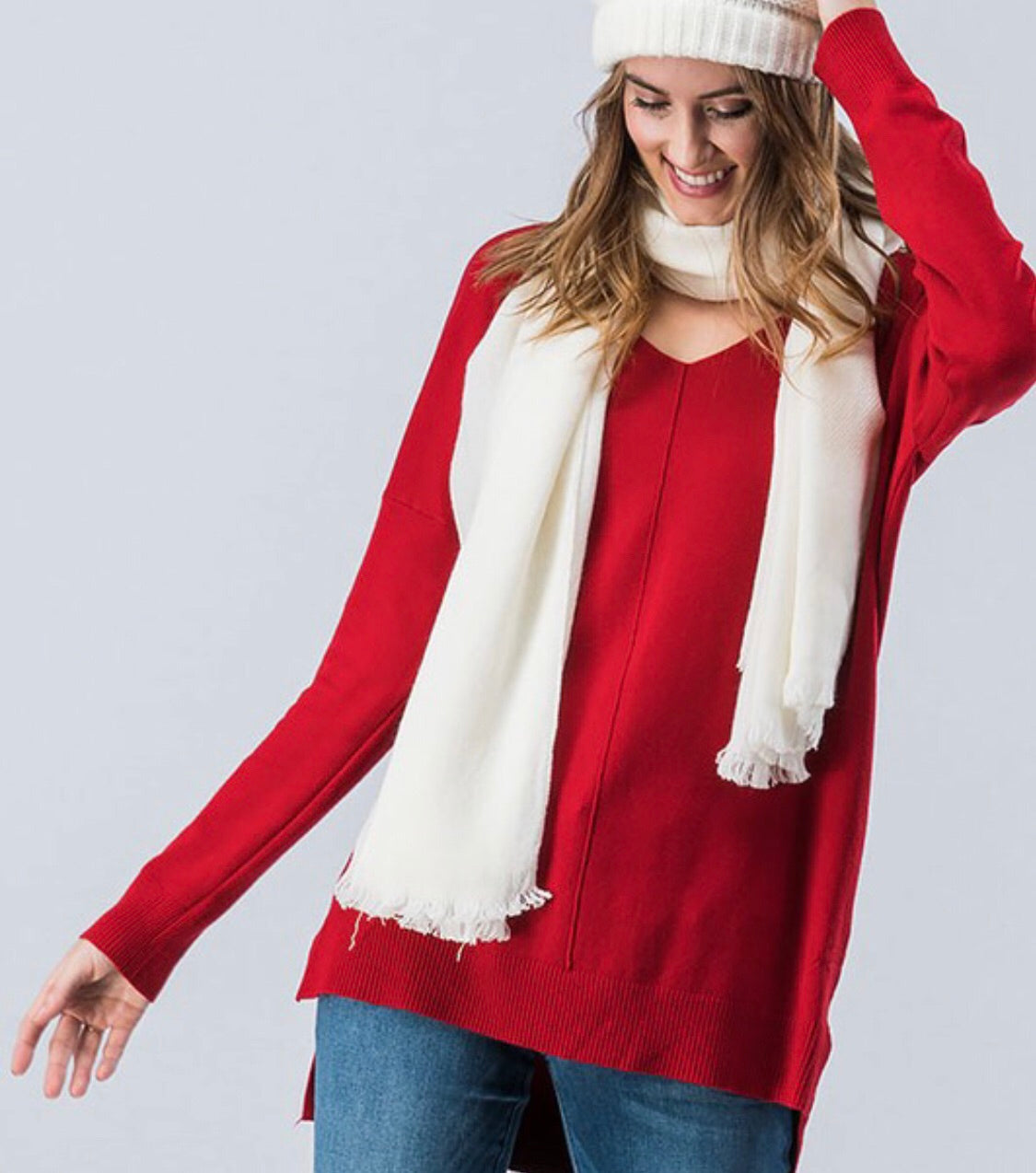 Blessed Butter V-neck Pullover- Red