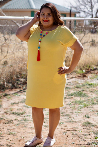 Blessed and Unique Basic Round Neck Dress- Yellow