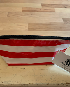 Oilcloth Mini Bag-Stripes-Red