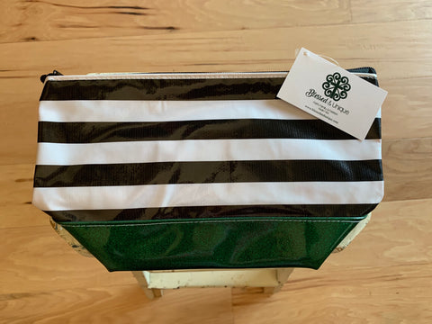 Oilcloth Bag-Kelly Green Glitter-Stripes