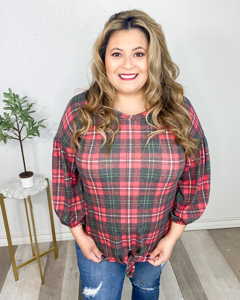Christmas Cheer Plaid Top