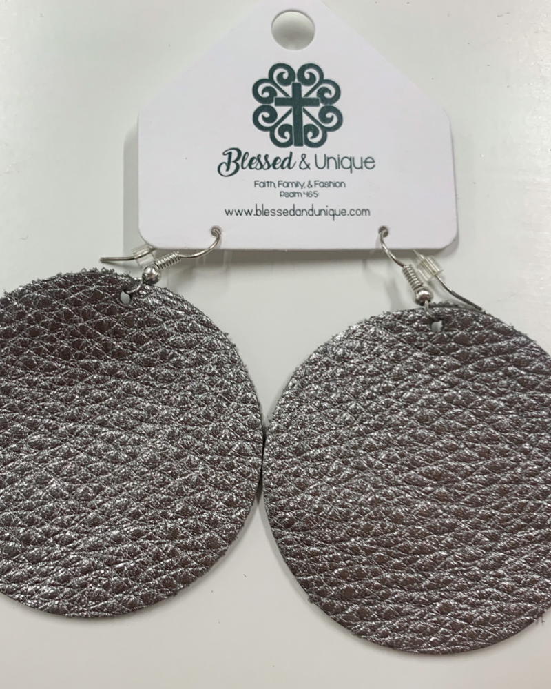 Charcoal Metallic Round Earrings