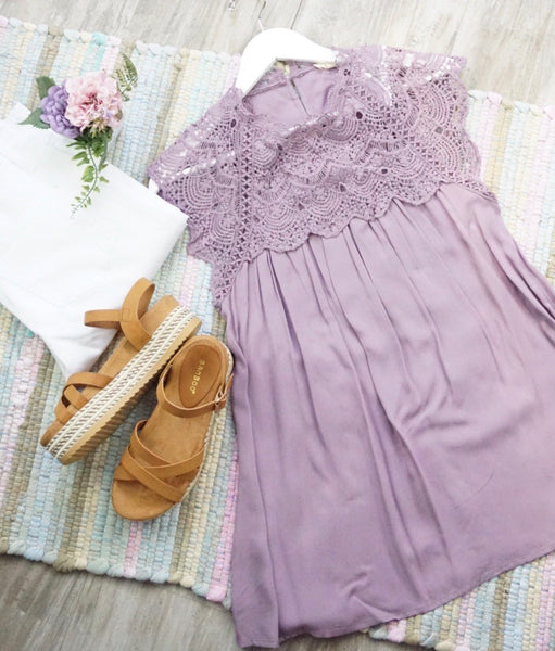 Lace Baby Doll Top-Lavender