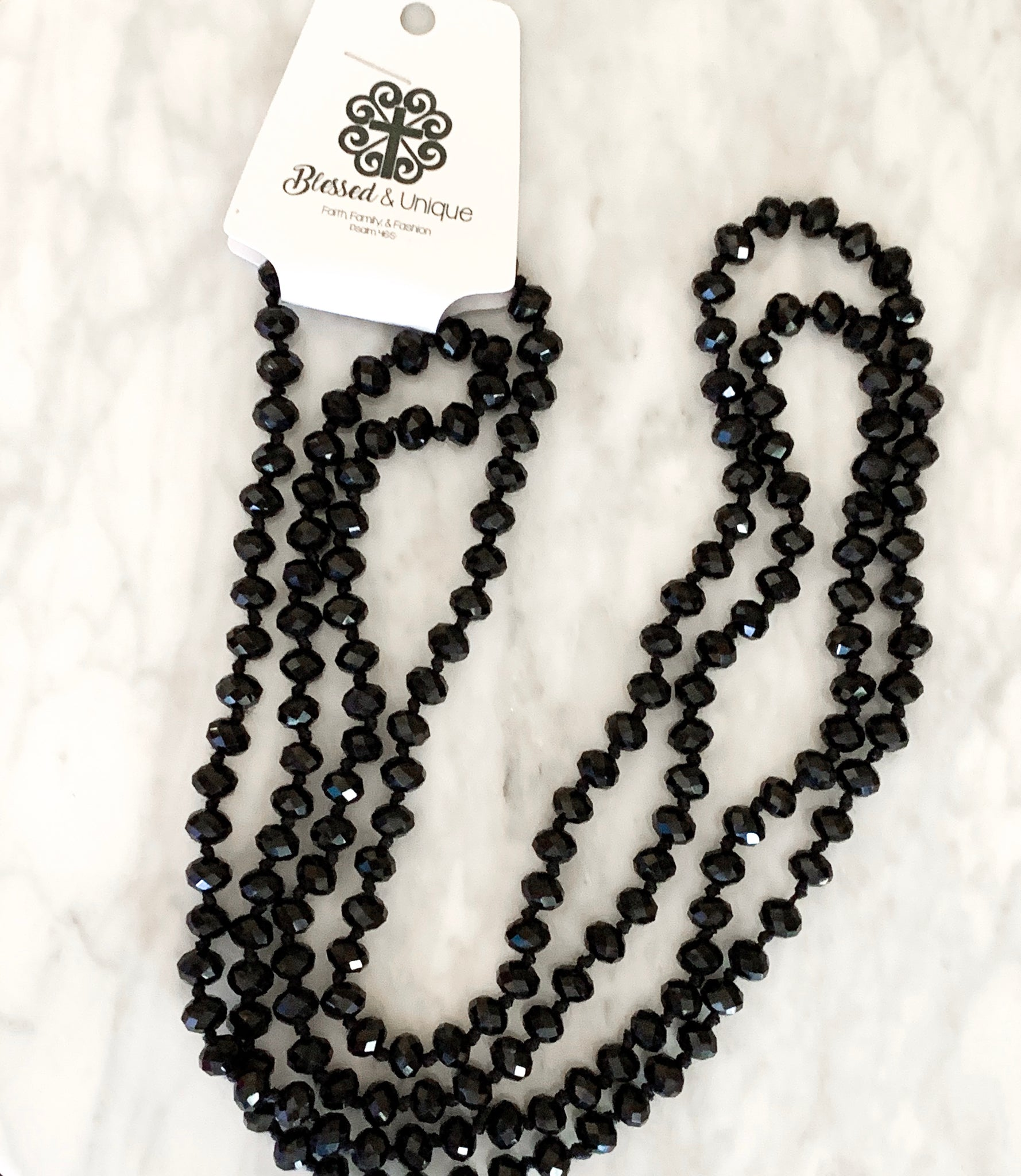 Blessed and Unique Beaded Necklace-Black