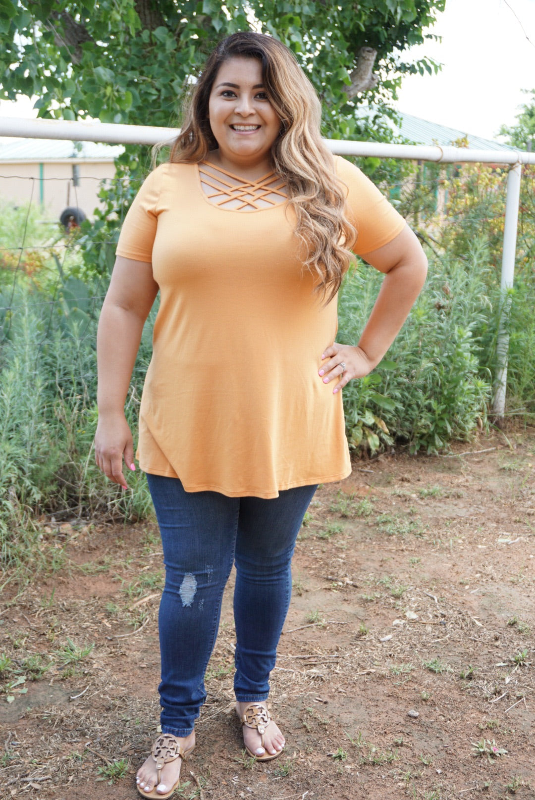 Blessed and Unique Lattice Short Sleeve Top-Ash Mustard
