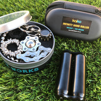 "The ULTIMATE KIT for teens & adults - Our best selling BLACK ""The Works"" Kit combined with our BLACK 250 gram hand roller!  Perfect anxiety sensory tool kit.   Save $10"
