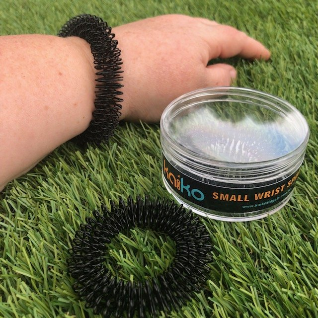 Kaiko Spikey for the wrist - small, large & now XL available. Sensory tool for anxiety and can assist with harm minimisation also.