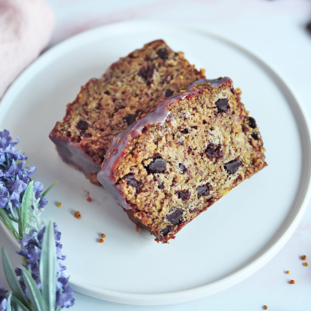 Vegan Banana Bread with Lavender Chocolate Chunks