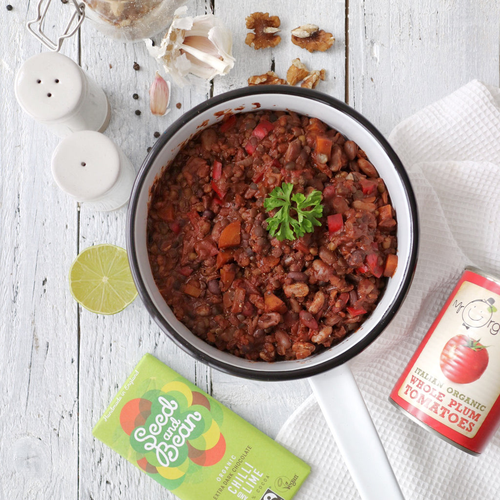 Bean Chilli with Walnuts & Chocolate