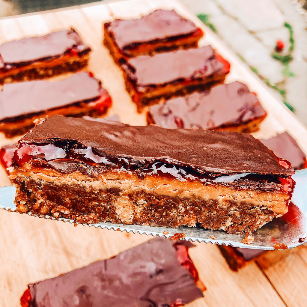 Chocolate PB&J Biscuit Bars (Vegan)