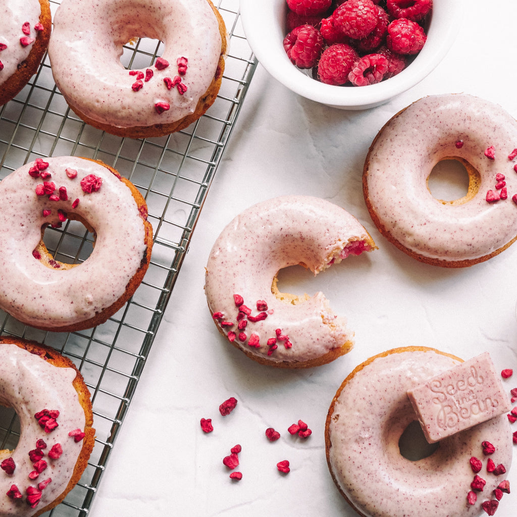 Vanilla Bean and Raspberry Baked Doughnuts