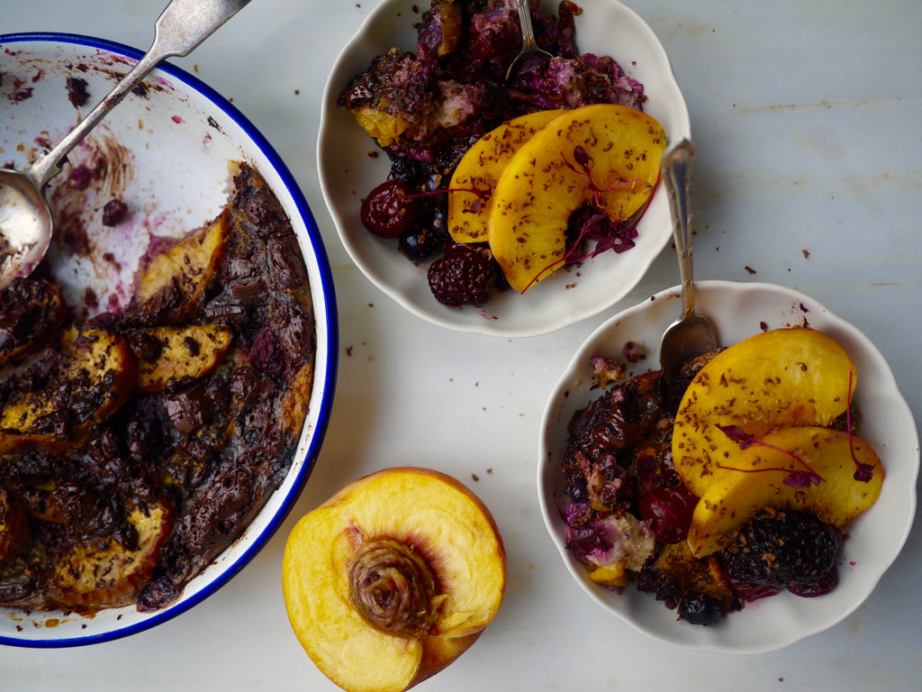 Baked Oats with Peaches, Berries and Chocolate