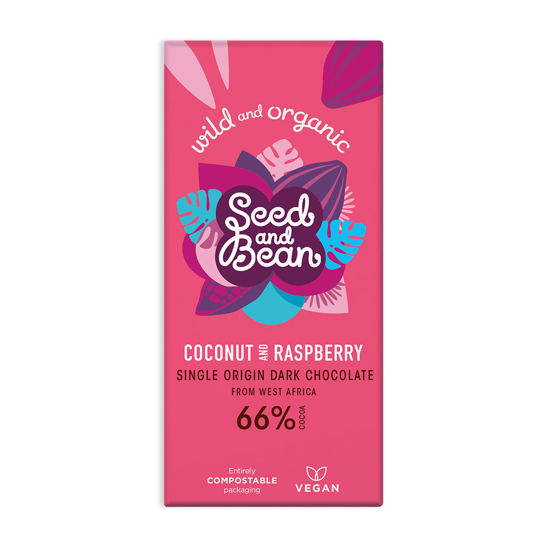 Coconut & Raspberry Extra Dark Chocolate 85g Bar (66% Cocoa)