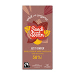 Just Ginger Fine Dark Chocolate 85g Bar (58% Cocoa)