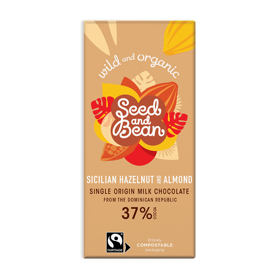 Sicilian Hazelnut & Almond Milk Chocolate 85g Bar (37% Cocoa)