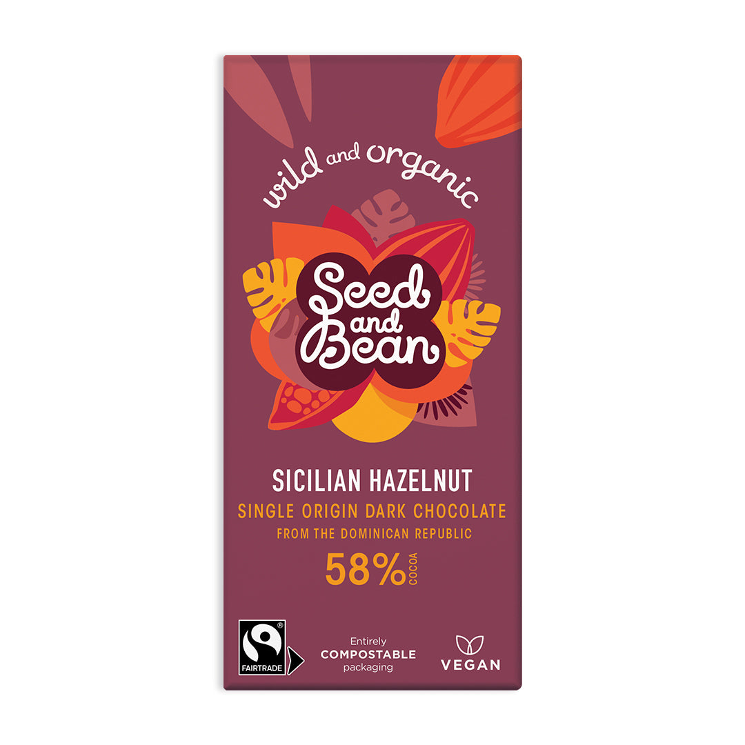 Sicilian Hazelnut Fine Dark Chocolate 85g Bar (58% Cocoa)