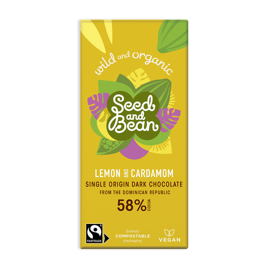 Lemon & Cardamom Fine Dark Chocolate 85g Bar (58% Cocoa)