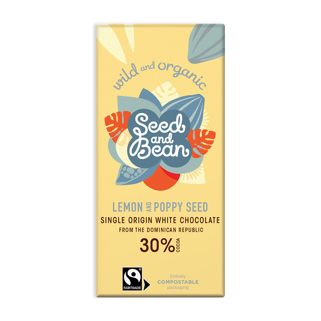 Lemon & Poppy Seeds Creamy White Chocolate 85g Bar (30% Cocoa)