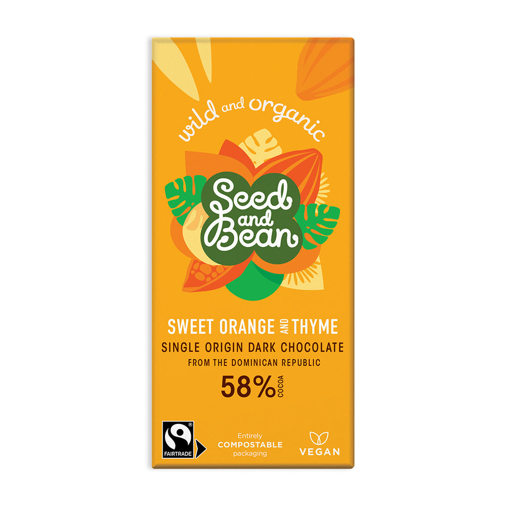 Sweet Orange & Thyme Fine Dark Chocolate 85g Bar (58% Cocoa)