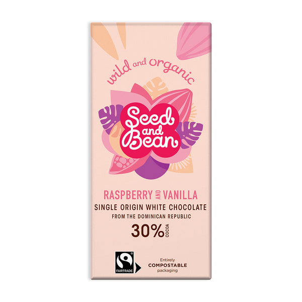 Raspberry & Vanilla Creamy White Chocolate 85g Bar (30% Cocoa)