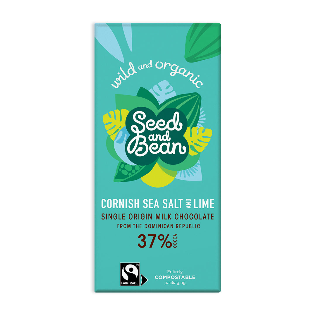Cornish Sea Salt & Lime Milk Chocolate 85g Bar (37% Cocoa)