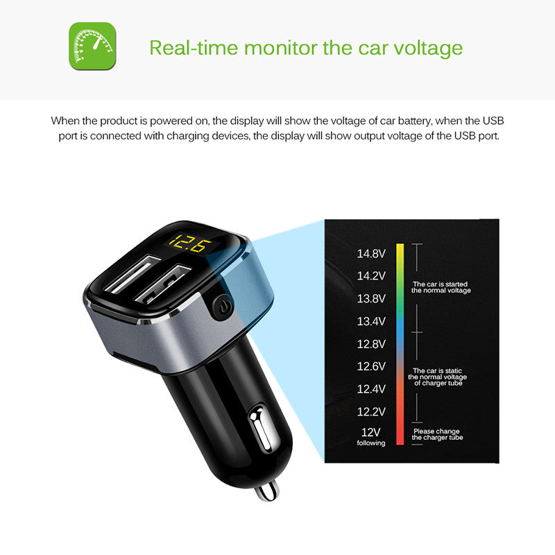 Powstro Dual Usb 5v 3 1a Car Charger Usb Charger Led Display With Power Switch Voltmeter Current Detect For Samsung Galaxy
