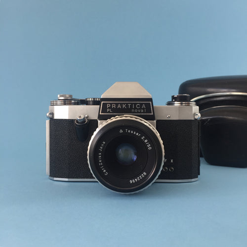 Vintage 35mm SLR Film Camera Praktica PL Nova 1 with Carl Zesis f/2.8 50mm Lens
