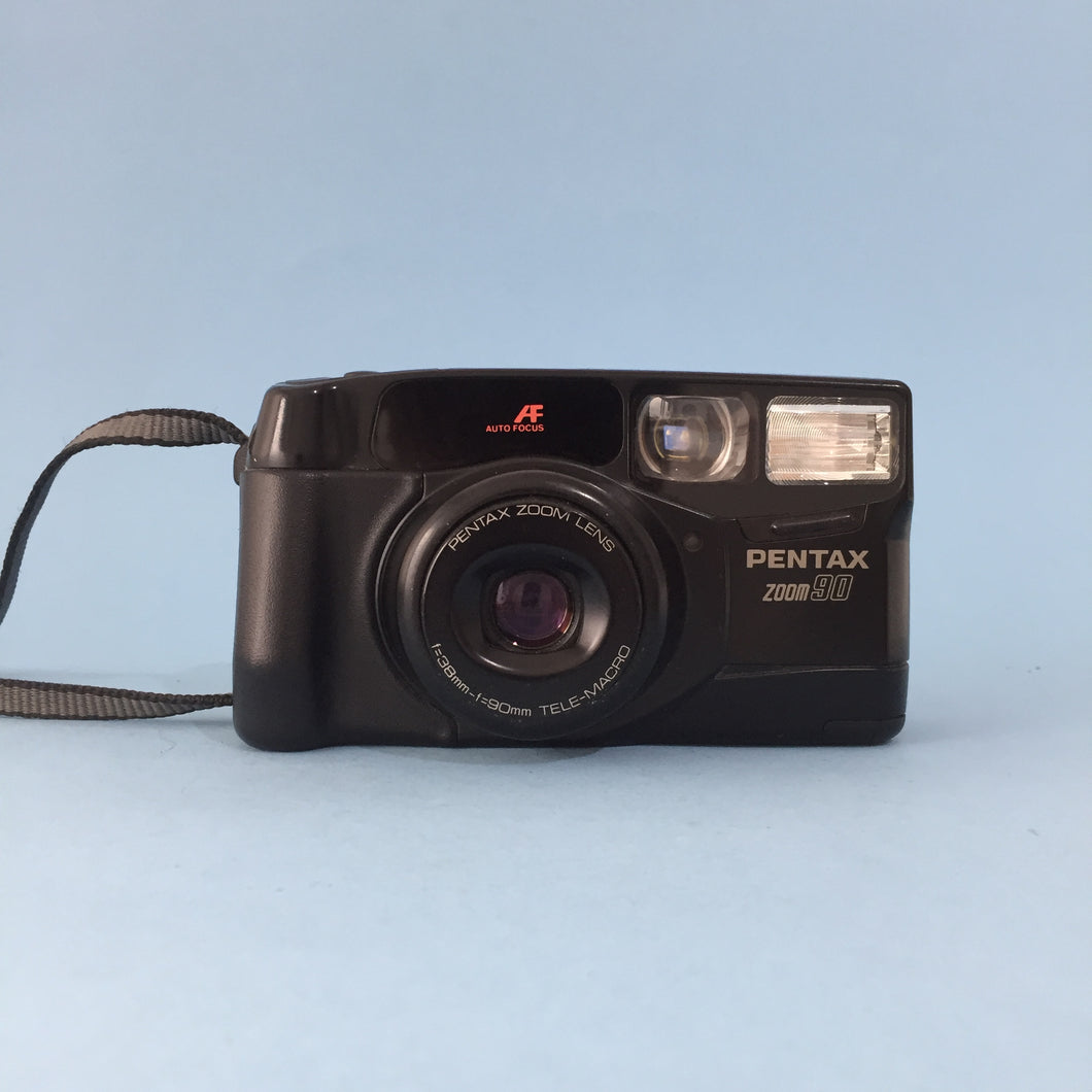 Pentax Zoom 90 35mm Film Camera Point and Shoot with Camera Strap