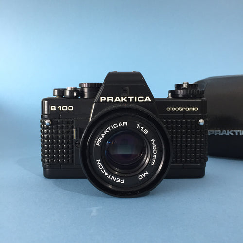 Praktica B 100 Electronic 35mm SLR Film Camera with Pentacton 50mm f/1.8 Lens