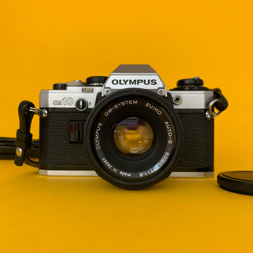 Olympus OM-10 Vintage SLR 35mm Film Camera with f/1.8 50mm Prime Lens