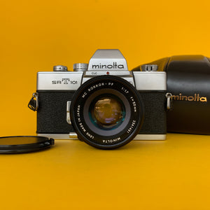 Minolta SRT101 35mm SLR Film Camera w/ Prime Lens & Original Leather Case