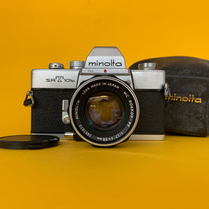Minolta SRT101b 35mm SLR Film Camera w/ Prime Lens & Original Leather Case - Film Camera Store